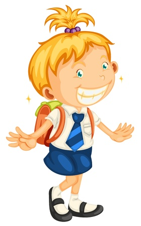 blue smiling: illustration of a girl going to school on a white
