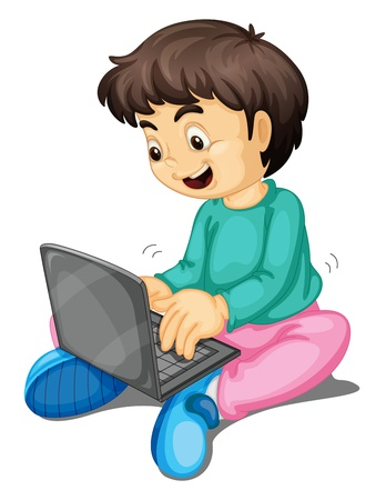 illustration of a boy and laptop on a white Vector