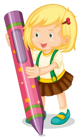illustration of a girl holding pencil on a white Vector