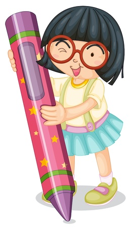 cartoon stars: illustration of a girl holding pencil on a white