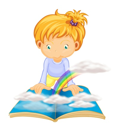 woman reading book: illustration of a girl on a white background