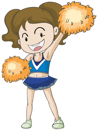pelota caricatura: ilustraci�n de una chica sobre un fondo blanco