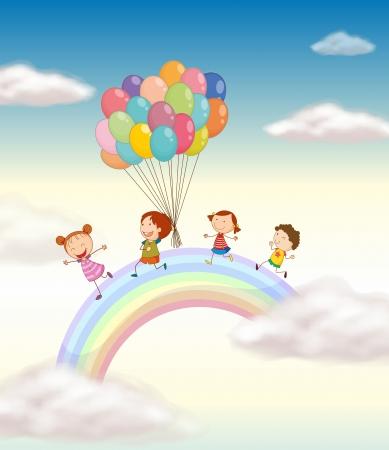 arcoiris caricatura: ilustraci�n de unos ni�os jugando con globos en el cielo