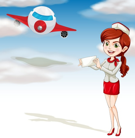 illustration of air plane and girl on a white background