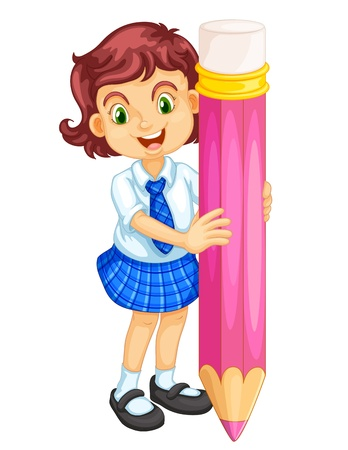 cartoon school girl: illustration of a girl holding pencil on a white