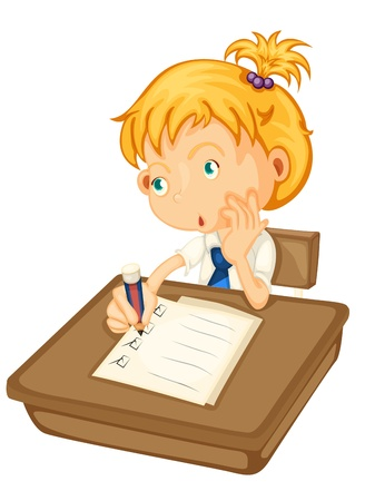 illustration of a girl studying on a white background Vector