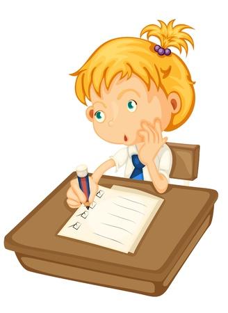 niños pensando: ilustración de una chica que estudia en un fondo blanco Vectores