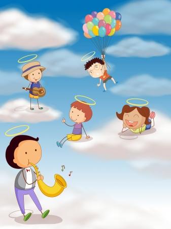 ilustración de unos niños jugando con globos en el cielo