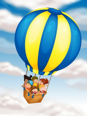 man in air: illustration of kids flying in hot air balloon