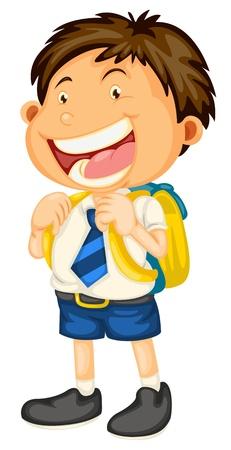 白い学校に行く少年のイラスト