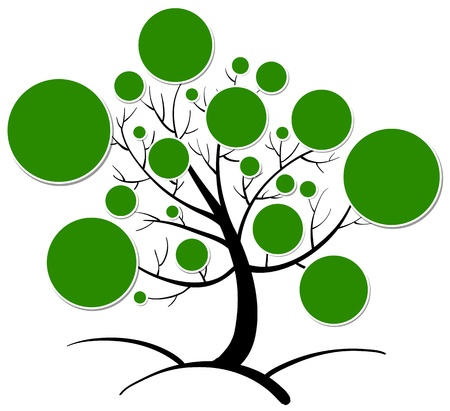 connect the dots: illustration of tree clipart on a white background Illustration