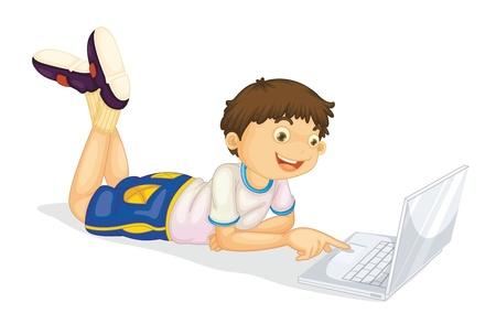 man using laptop: illustration of a boy and laptop on a white Illustration