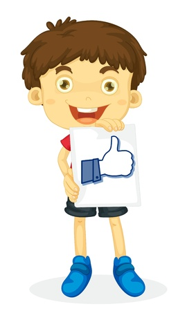 young  cuffs: illustration of a boy holding thumb picture on white Illustration