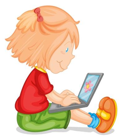 bimbi che giocano: illustrazione di una ragazza e computer portatile su uno sfondo bianco