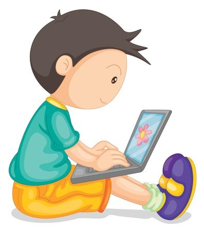 using laptop: illustrazione di un ragazzo e computer portatile su uno sfondo bianco