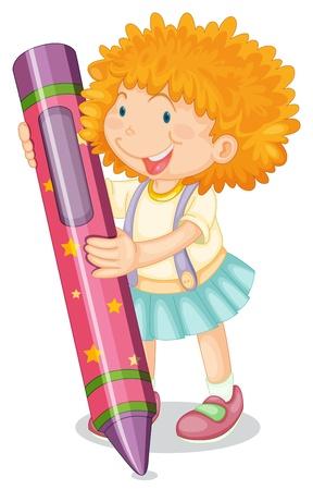 niños con lÁpices: Ilustración de una niña de la celebración de un lápiz sobre un fondo blanco