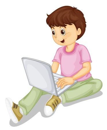 illustration of a boy and laptop on a white Stock Vector - 14764592