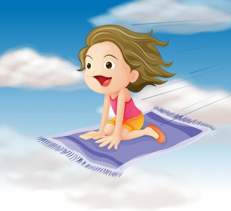 single story: illustration of a girl flying on mat in the sky