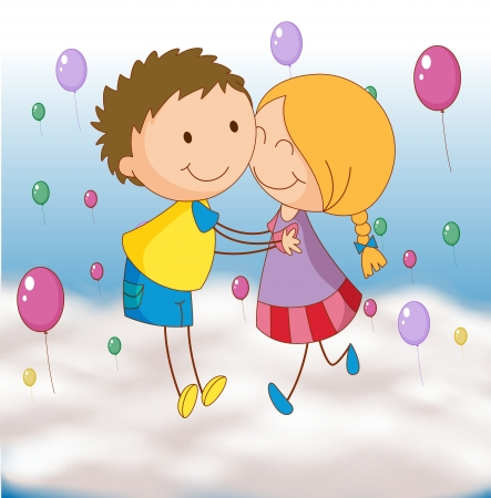 illustration of a kids playing with balloons Vector