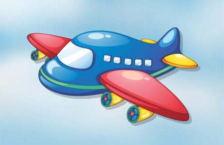 toy plane: illustration of air plane flying in the sky Illustration