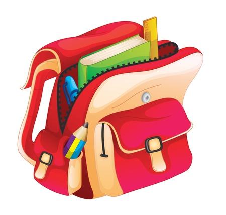 pocket book: illustration of a school bag on a white