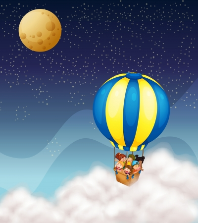 man in air: illustration of kids in hot air balloon flying in the sky