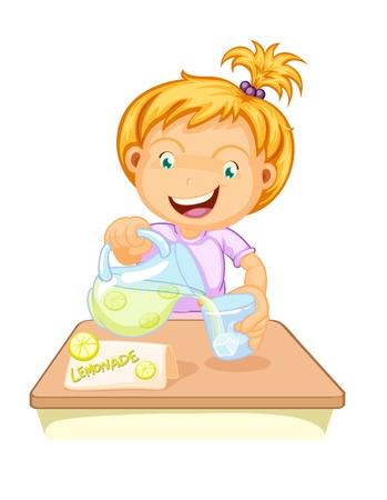 illustratie van een meisje drinken sap op een witte