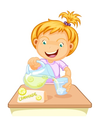 illustration of a girl drinking juice on a white Vector