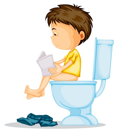 illustration of a boy sitting on commode on a white Vector