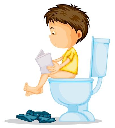 inodoro: ilustración de un niño sentado en el inodoro en un blanco Vectores