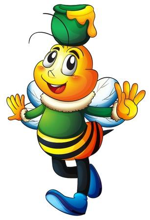 abeja caricatura: ilustración de una abeja de la miel en un fondo blanco