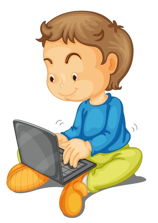 surfing the net: illustration of a boy with laptop on a white background Illustration