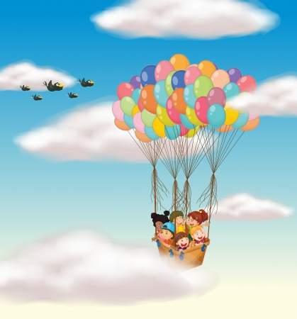 helium: illustration of a kids flying in basket