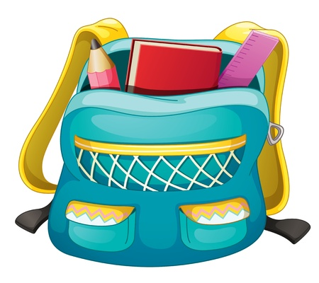 protractor: illustration of a school bag on a white background