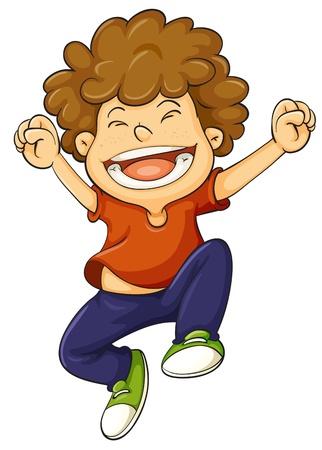 springende mensen: illustratie van een jongen op een witte achtergrond
