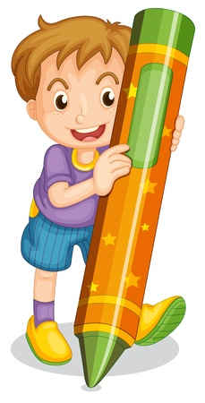 pencil cartoon: illustration of a boy holding pencil on a white Illustration