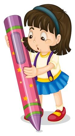 ilustración de una muchacha que sostiene un lápiz sobre un fondo blanco Ilustración de vector
