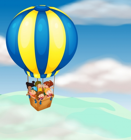 man in air: illustration of a kids in hot air balloon