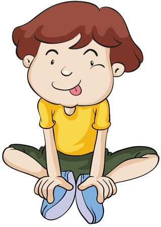 alone person: illustration of a boy on a white background