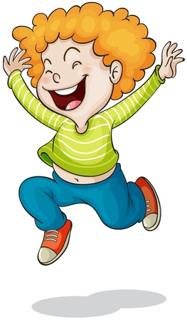 persona feliz: ilustración de un muchacho en un fondo blanco Vectores