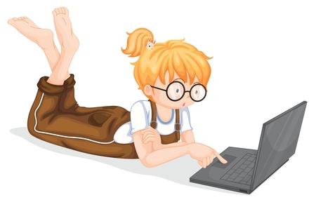 net surfing: illustrazione di una ragazza con il computer portatile su uno sfondo bianco Vettoriali