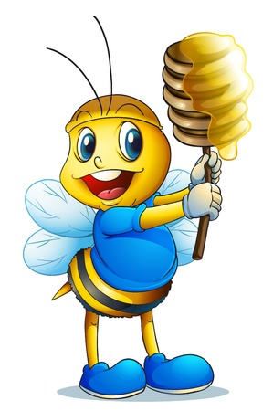 illustration of a honey bee on a white background Vector