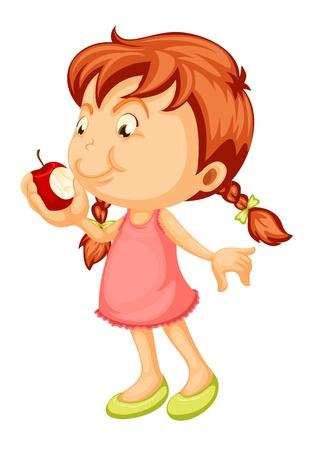kid eat: illustrazione di una ragazza che morde mela su uno sfondo bianco Vettoriali