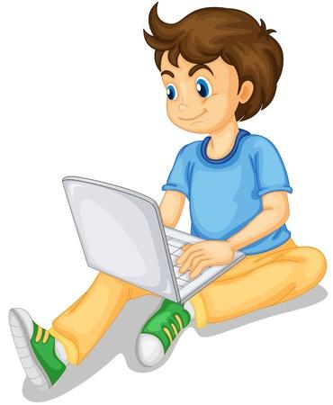 počítač: ilustrace chlapce a přenosný počítač na bílé