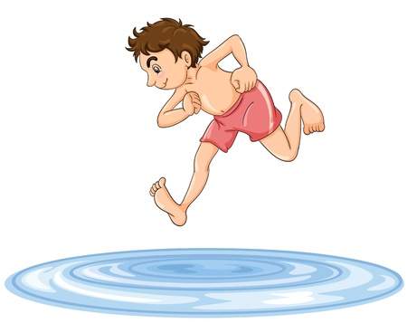 game of pool: illustration of a boy diving into water on a white background
