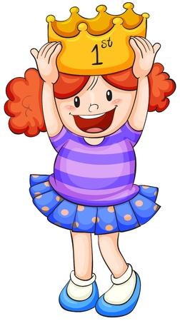 niños actuando: ilustración de una chica sobre un fondo blanco