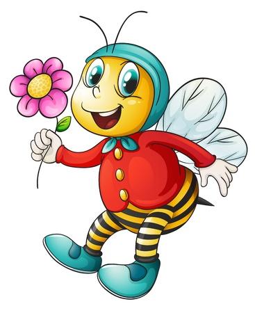 miel de abeja: ilustraci�n de una abeja de la miel en un fondo blanco