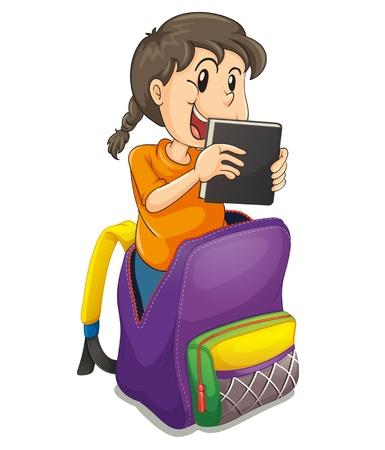 illustration d'une fille dans le sac d'école sur un fond blanc Vecteurs