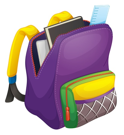 school backpack: illustration of a school bag on a white