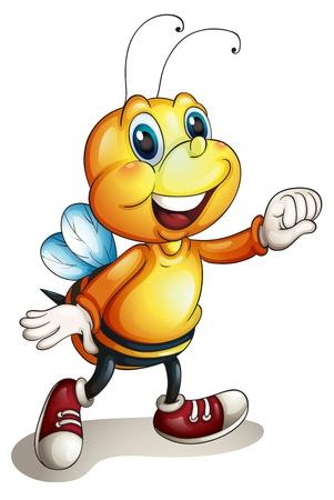 Illustration der Biene auf weißem Hintergrund Standard-Bild - 14841261